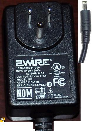 2WIRE ACWS011C-05U AC ADAPTER 5.1VDC 2.2A USED 1.5x4mm ROUND B