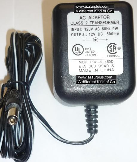 41-9-450D AC ADAPTER 12VDC 500mA USED -(+) 2x5.5x10mm ROUND BARR