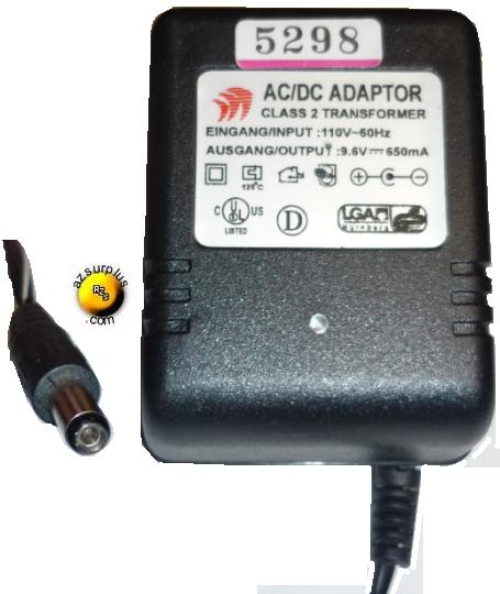 AC ADAPTER 9.6Vdc 650mA +(-) 2x5.5mm 110vac Used CLASS 2 TRANSFO