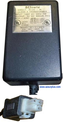 ACI World 41-5-400R AC ADAPTER 5V 400mA DIRECT PLUG-IN POWER SUP