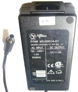 ACRO-POWER AXS48S-12 AC ADAPTER 12VDC 4A -(+) 2.5x5.5mm 100-240v