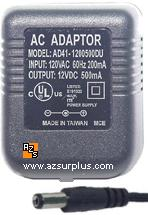 AD41-1200500DU AC ADAPTER 12VDC 0.5A -(+)- 2x5.5mm 120vac 500mA