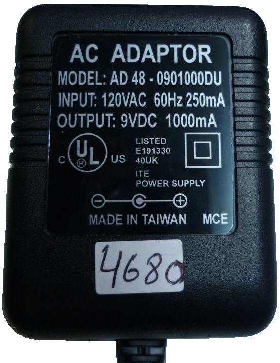 AD 48-0901000DU AC ADAPTER 9VDC 1A PLUG IN CLASS 2 TRANSFORMER