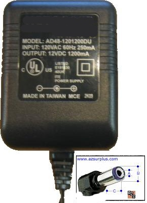 AD48-1201200DU AC Adapter 12VDC 1.2A USED -(+) 2.1x5,5mm 90° ROU