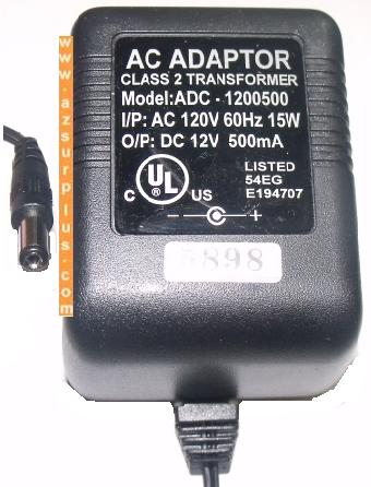 ADC-1200500 AC ADAPTER 12VDC 500mA CLASS 2 TRANSFORMER