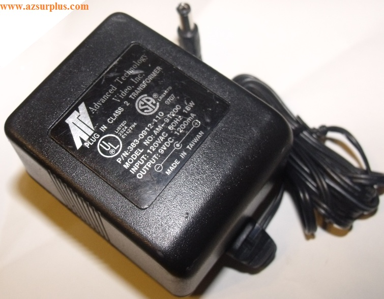 ADVANCED TECHNOLOGY VIDEO AM-091200 AC ADAPTER PLUG IN CLASS 2 T