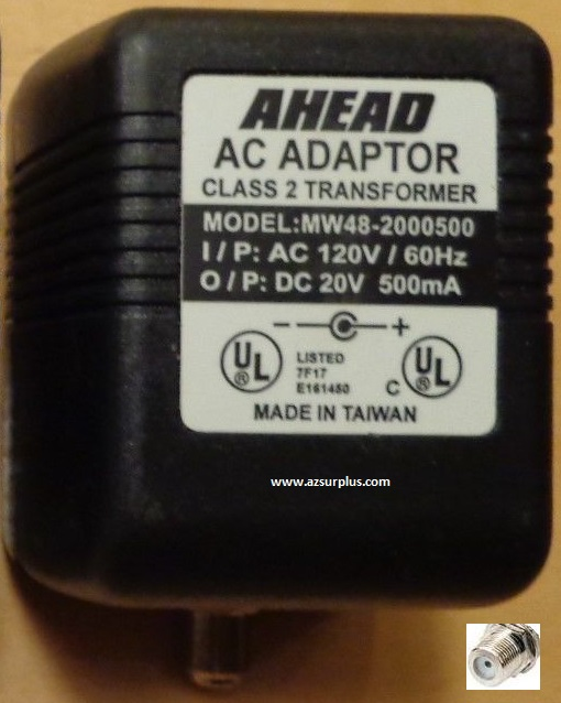 AHEAD MW48-2000500 AC Adaptor 500 20VDC 500mA -(+) RF POWER SUPP