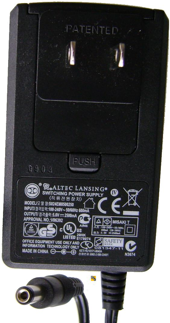 ALTEC LANSING S024EM0500250 AC ADAPTER 5VDC 2500mA -(+) 2x5.5mm