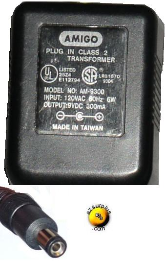 AMIGO AM-9300 AC ADAPTER 9V 300mA PLUG IN CLASS 2 TRANSFORMER