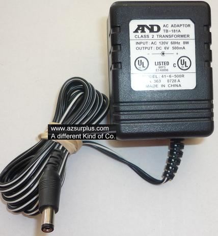 AND 41-6-500R AC ADAPTER 6VDC 500mA USED -(+) 2x5.5x9.4mm ROUND