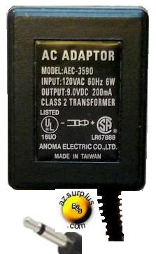 ANOMA AEC-3590 AC DC ADAPTER 9V 200mA POWER SUPPLY