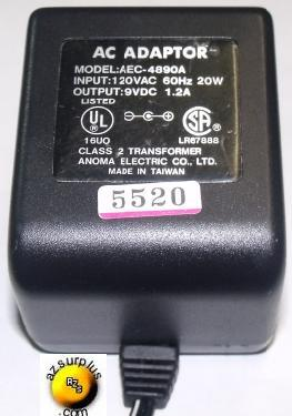 ANOMA AEC-4890A AC ADAPTER 9V 1.2A CLASS 2 TRANSFORMER