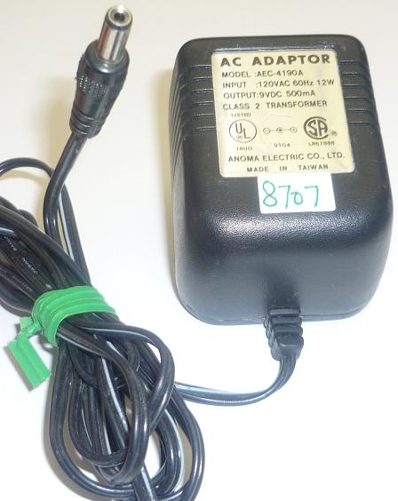 ANOMA ELECTRIC AEC-4190A AC ADAPTER 9VDC 500mA USED -(+) 2x5x11.
