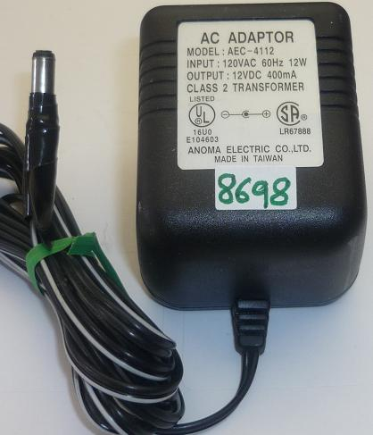 ANOMA ELECTRIC AEC-4112 AC ADAPTER 12VDC 400mA USED -(+) 2x5.5mm