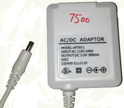 AP3911 Ac Dc Adapter 5V DC 500mA New +(-) 1.3x3.4x7.5mm straigh