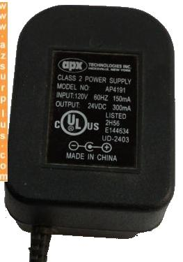 APX AP4191 AC ADAPTER 24VDC 300mA CLASS 2 POWER SUPPLY