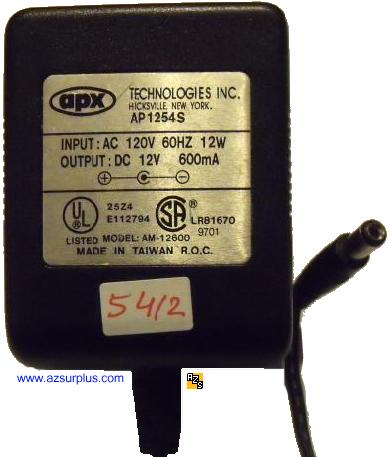 APX AM12600 AC Adapter 12V DC 600mA AP1254S Linear Power Supply