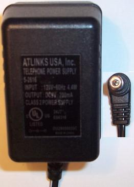 ATLINKS 5-2616 AC ADAPTER 9V 200mA USED -(+) 2x5.5mm 90°ROUND B