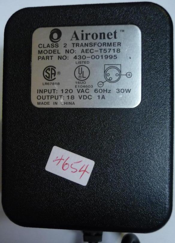Aironet AEC-T5718 AC Adapter 18VDC 1A USED 3 PIN DIN 10mm POWER
