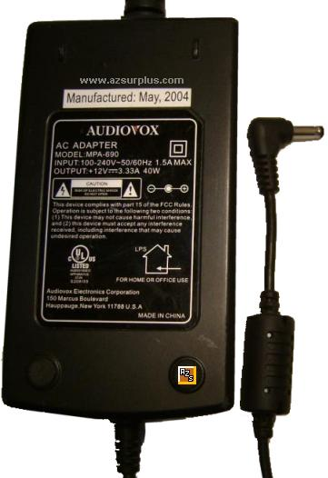 Audiovox MPA-690 AC Adapter 12VDC 3.33A 40W Power Supply DVD Pla