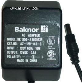 BAKNOR BK 1250-A 9025E3P AC ADAPTER 12VDC 0.5A 10W USED -(+) 2x5