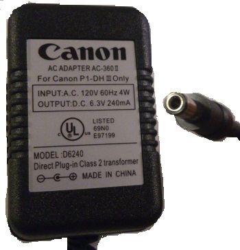 CANON D6420 AC ADAPTER 6.3V DC 240mA USED 2 x 5.5 x 12mm