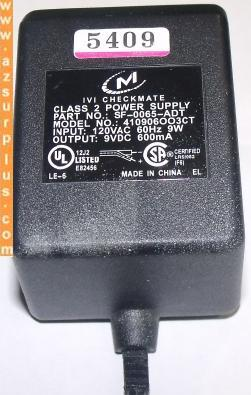 M IVI CHECKMATE 410906OO3CT AC ADAPTER 9VDC 600mA 9W Class 2 Pow