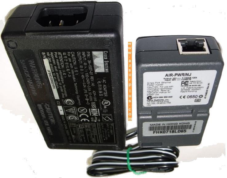 CISCO ADP-10KB AC ADAPTER 48VDC 0.2A -(+)- RJ45 INJECTOR USED PO