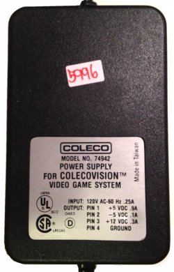 COLECO 74942 AC ADAPTER +5VDC 0.9A -5V 0.1A +12V 0.3A USED 4PIN