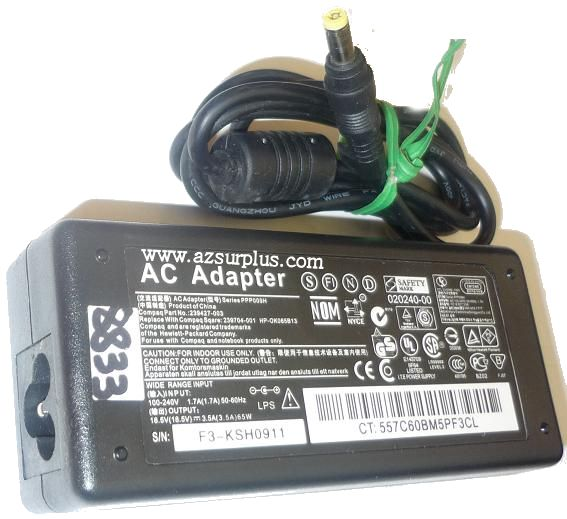 HP COMPAQ PPP009H AC ADAPTER 18.5VDC 3.5A USED -(+) 1.5x4.7mm RO