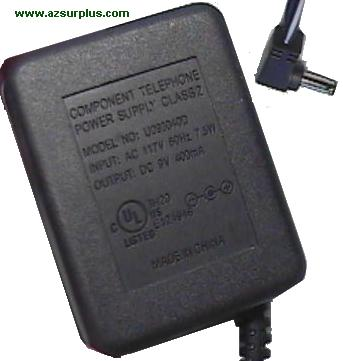 COMPONENT TELEPHONE U093040D AC ADAPTER 9VDC 400mA USED 1x3.5mm