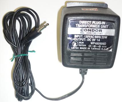 CONDOR WP480909D AC ADAPTER 9VDC 1A USED -(+) 3mm PLUG IN CLASS