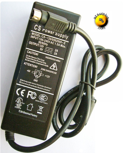 CS CS-120/0502000-E AC ADAPTER 12V 5VDC 2A 4Pin USED Power Supp