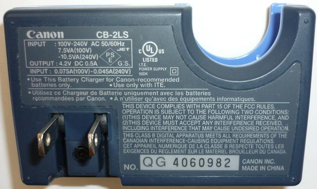 Canon CB-2LS Battery Charger 4.2V DC 0.5A USED Digital Camera S1
