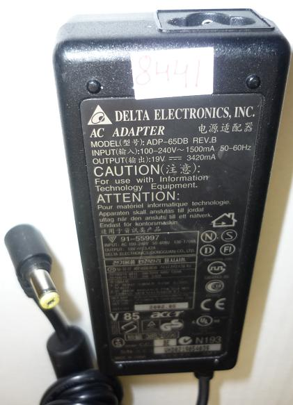 DELTA ADP-65DB AC ADAPTER 19VDC 3420A USED -(+) 1.7x5.5mm ACER R