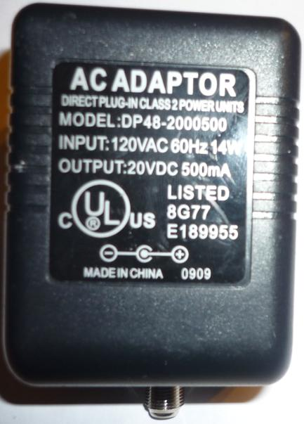 AC Adaptor DP48-2000500 20V DC 500mA -(+) RF POWER SUPPLY Adapte