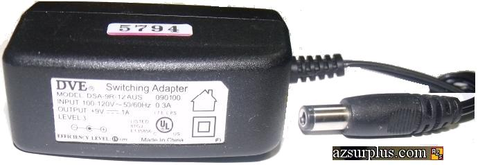DVE DSA-9R-12AUS AC ADAPTER 9Vdc 1A Used -(+) 2.5x5.5mm 100-240v
