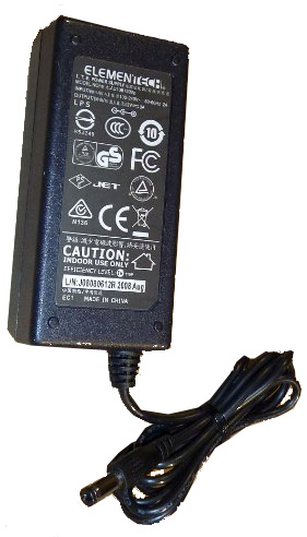 ELEMENTECH AU1361202 AC ADAPTER 12VDC 3A -(+) Used 2.4 x 5.5 x