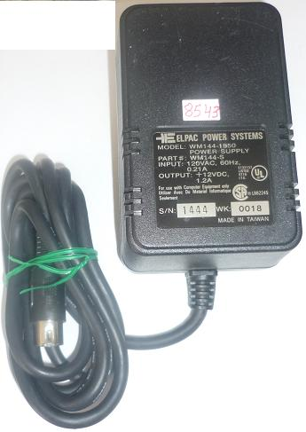 ELPAC MW144-1950 AC ADAPTER +12VDC 1.2A USED 5PIN DIN CONNECTOR