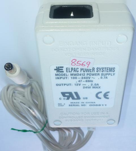 ELPAC MW2412 AC ADAPTER 12VDC 2A 24W USED -(+) 2.3x5.5x9.7mm ITE