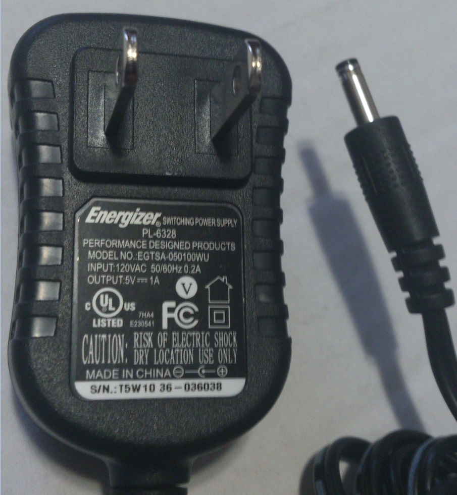 ENERGIZER EGTSA-050100WU AC ADAPTER 5VDC 1A USED -(+) 1MM ROUN