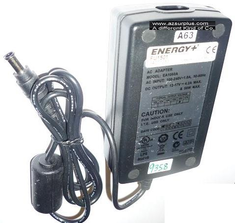 ENERGY EA1060A FU1501 AC ADAPTER 12-17VDC 4.2A USED 4x6.5x12mm R