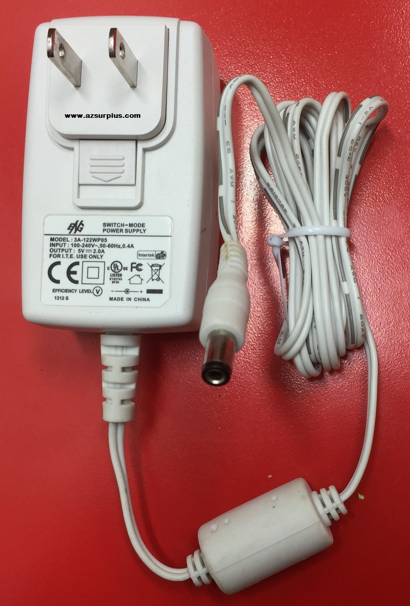 ENG 3A-122wp05 AC Adapter 5VDC 2A -(+) 2.5x5.5mm White Used Swit