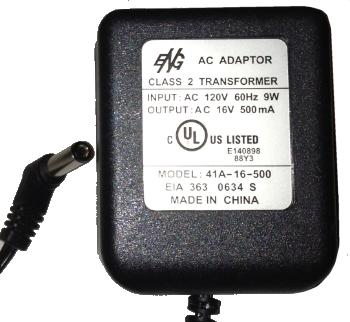 ENG 41A-16-500 AC ADAPTER 16V AC 500mA Used 2 x 5.5 x 11.8 mm St