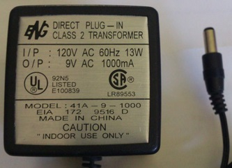 ENG 41A-9-1000 AC ADAPTER 9V 1000mA USED 2.5x5.5x12mm