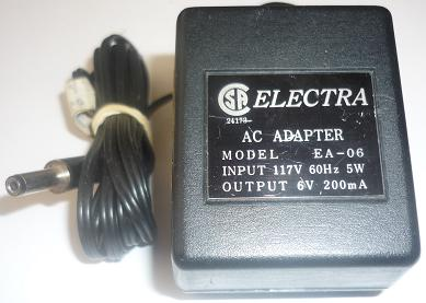 Electra EA-06 AC ADAPTER 6VDC 200mA used -(+) 2x5x14.3mm round b