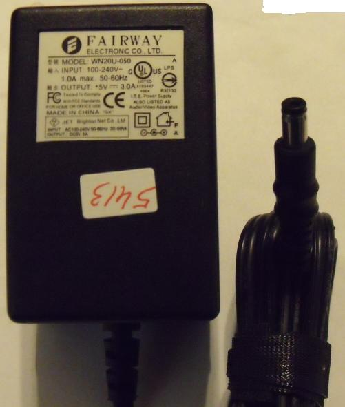 FAIRWAY WN20U-050 AC ADAPTER 5V DC 3A POWER SUPPLY USED