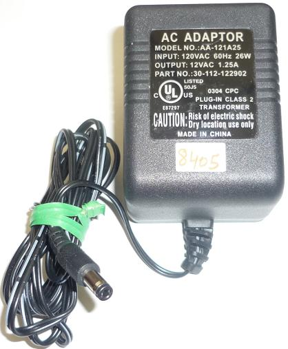 AA-121A25 AC ADAPTER 12VAC 1.25A USED ~(~) 2.5x5.5mm ROUND BARRE