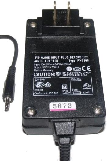 FIT FW7306 AC ADAPTER 32Vdc 750mA ITE POWER SUPPLY