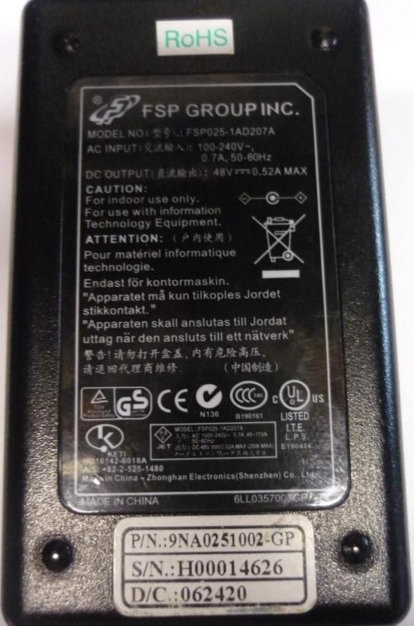 FSP FSP025-1AD207A AC ADAPTER 48VDC 0.52A -(+) 2.5x5.5mm Used 10